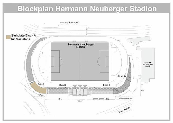 Der Stehplatz-Bereich für Heimfans erstreckt sich über die Blöcke B, C und D. Der Stehplatz-Bereich für die Gästefans befindet sich in Block A. Überdachte Sitzplätze befinden sich auf der proWIN-Tribüne. VIP-Plätze befinden sich im Bistro 06